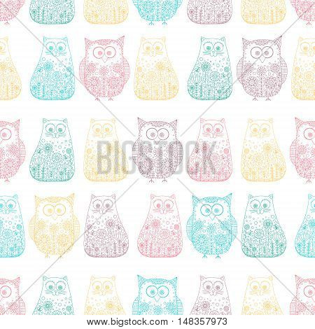 Doodle cats and owls. Vector seamless pattern with hand drawn bird and kitten. Cute childish background. Outline. Color animals on white background.