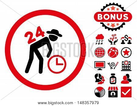 Around the Clock Work icon with bonus elements. Vector illustration style is flat iconic bicolor symbols intensive red and black colors white background.