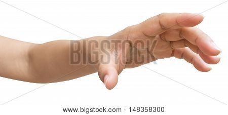 Hand of male or female try to reach something isolated on white background Clipping path included.