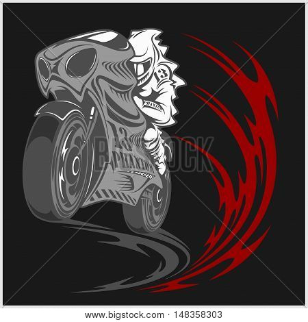 Motorcycle racer sport and tribal design on black background