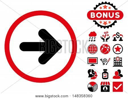 Arrow Right icon with bonus design elements. Vector illustration style is flat iconic bicolor symbols intensive red and black colors white background.