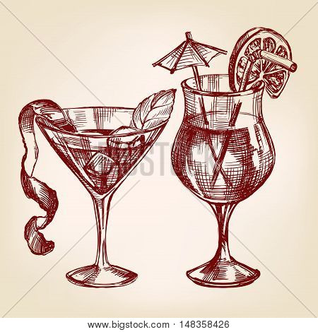 Cocktail set hand drawn vector llustration realistic sketch