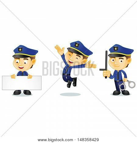 Policeman with board mascot vector art illustration