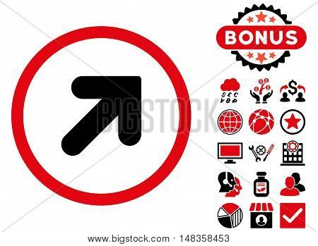 Arrow Up Right icon with bonus images. Vector illustration style is flat iconic bicolor symbols intensive red and black colors white background.