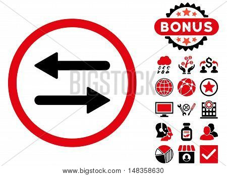 Arrows Exchange icon with bonus pictures. Vector illustration style is flat iconic bicolor symbols intensive red and black colors white background.