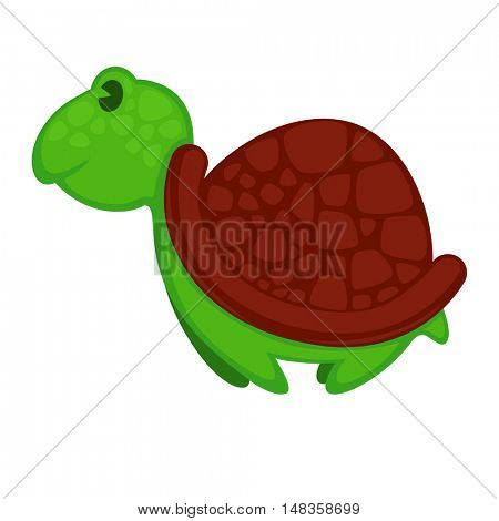 Vector illustration of a cute cartoon turtle. Isolated on white.