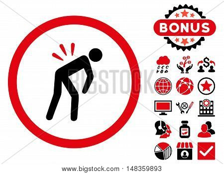 Backache icon with bonus design elements. Vector illustration style is flat iconic bicolor symbols intensive red and black colors white background.