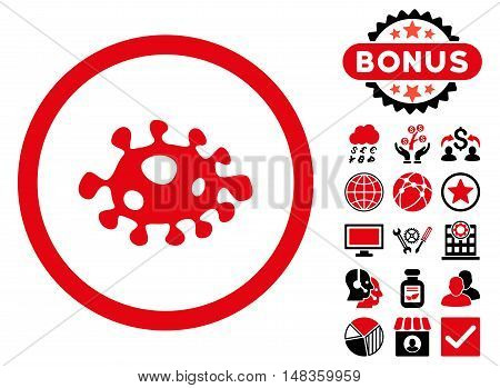 Bacteria icon with bonus symbols. Vector illustration style is flat iconic bicolor symbols intensive red and black colors white background.