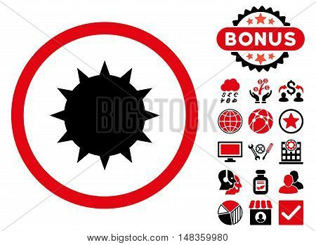 Bacterium icon with bonus images. Vector illustration style is flat iconic bicolor symbols intensive red and black colors white background.