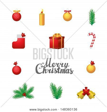 Vector set of christas elements on white background