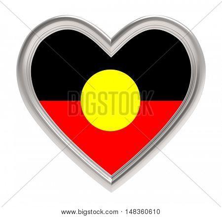 Australian Aborigines flag in silver heart isolated on white background. 3D illustration.
