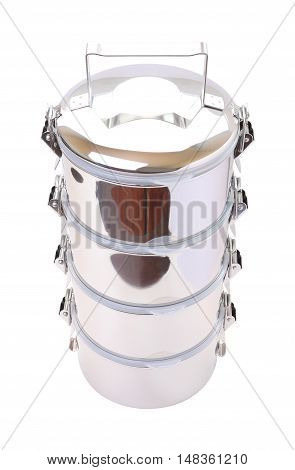 Top face metal tiffin carrier on white background.