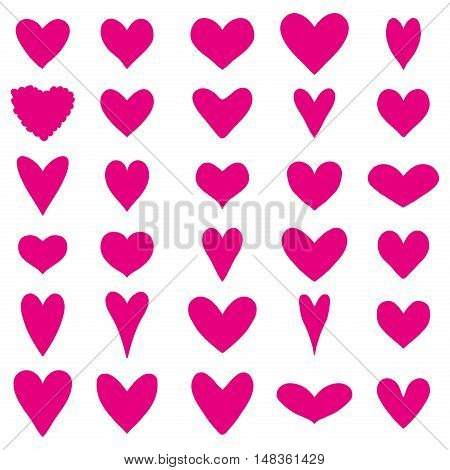 Set of thirty bright pink heart silhouettes on a white background for Valentine's Day. Vector illustration