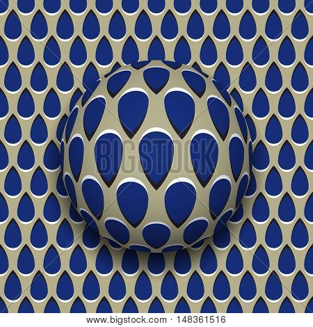 Ball with a blue drops pattern rolls along blue drops surface. Abstract vector optical illusion illustration. Motion background and tile of seamless wallpaper.