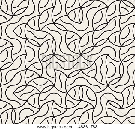 Vector Seamless Black And White Irregular Arc Lines Maze Pattern. Abstract Geometric Background Design