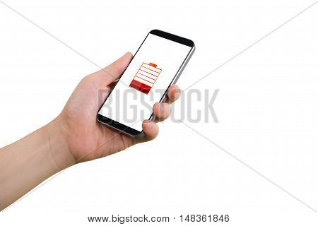 human hand hold smartphone tablet cell phone with virtual low battery status icon on screen and isolated white background.