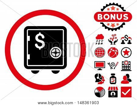 Banking Safe icon with bonus elements. Vector illustration style is flat iconic bicolor symbols intensive red and black colors white background.