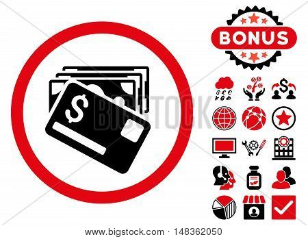 Banknotes and Card icon with bonus images. Vector illustration style is flat iconic bicolor symbols intensive red and black colors white background.
