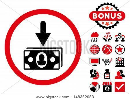 Banknotes Income icon with bonus elements. Vector illustration style is flat iconic bicolor symbols intensive red and black colors white background.
