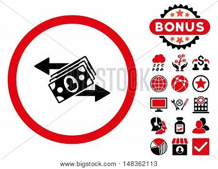Banknotes Payments icon with bonus elements. Vector illustration style is flat iconic bicolor symbols intensive red and black colors white background.