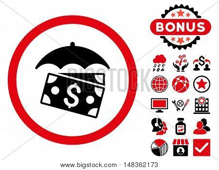 Banknotes Umbrella icon with bonus images. Vector illustration style is flat iconic bicolor symbols intensive red and black colors white background.