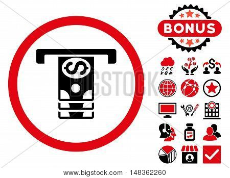 Banknotes Withdraw icon with bonus design elements. Vector illustration style is flat iconic bicolor symbols intensive red and black colors white background.