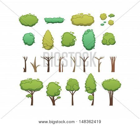 Nature vector cut tree design elements. Vector tree flat silhouette isolated on white. Tree different size and forms design elements