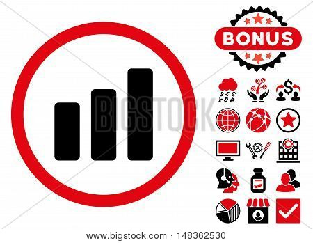 Bar Chart Increase icon with bonus pictures. Vector illustration style is flat iconic bicolor symbols intensive red and black colors white background.