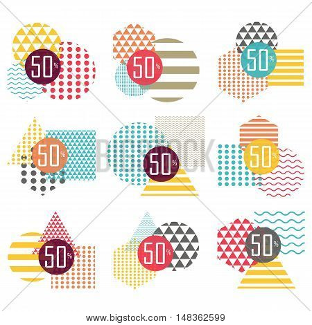 Vector minimalistic design for sale tag. Set of sale stickers. Elements for marketing advertising promotion branding and media. Flat cartoon illustration. Objects isolated on white background.