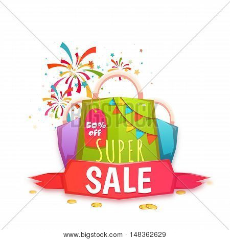 Big sale banner with color packet and ribbon. Vector illustration.