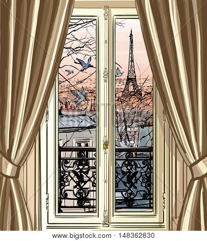 France, Paris - Window with Eiffel tower and roofs view  vector illustration