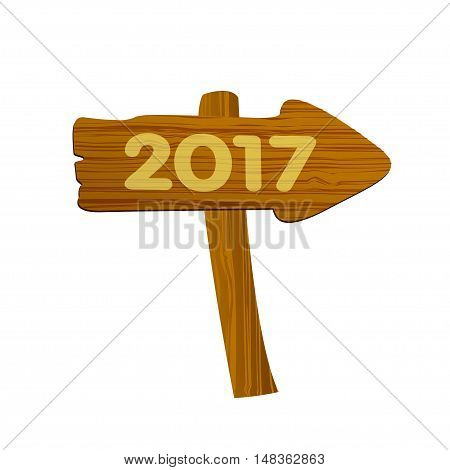 Wooden arrow on a white background. Vector illustration