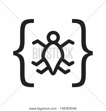 Bug, code, error icon vector image. Can also be used for software development. Suitable for mobile apps, web apps and print media.