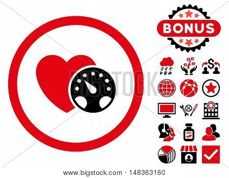 Blood Pressure Meter icon with bonus elements. Vector illustration style is flat iconic bicolor symbols, intensive red and black colors, white background.
