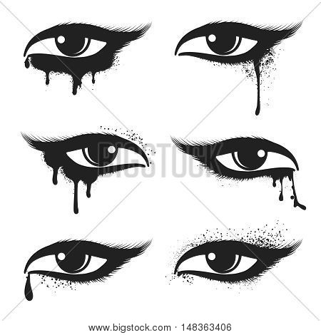 Isolated eyes with black drops and smudges vector