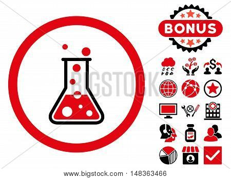 Boiling Liquid Flask icon with bonus pictures. Vector illustration style is flat iconic bicolor symbols, intensive red and black colors, white background.