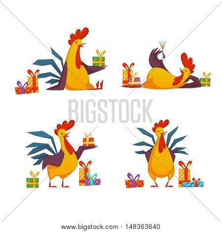 Happy new year 2017 rooster set. Vector illustration with rooster and gifts isolated on white background.