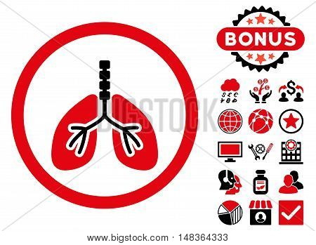 Breathe System icon with bonus elements. Vector illustration style is flat iconic bicolor symbols, intensive red and black colors, white background.