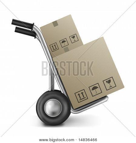 Caja de cartón en el carro del saco