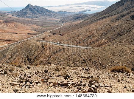 Beautiful volcanic mountains on Fuerteventura. Canary Islands.