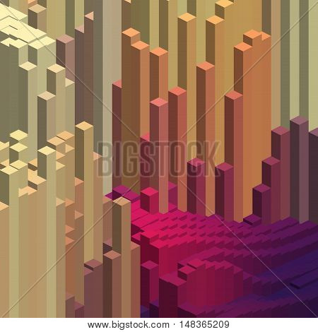 Abstract Cubes Background For Design. Vector Eps10 Beige, Pink, Purple Colors.