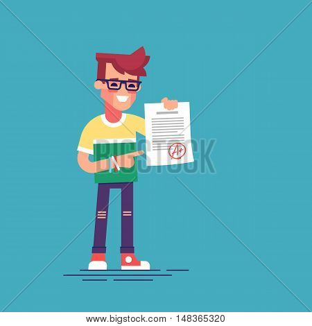 A cute happy student holding sheet with the highest mark. Excellent pupil showing the best result test. Cartoon character. Vector illustration flat design.