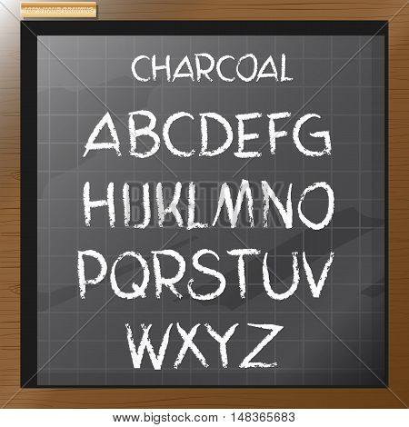 Digital vector charcoal hand drawn alphabet, on a blackboard with grid, flat style
