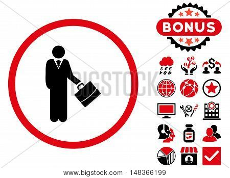 Businessman icon with bonus design elements. Vector illustration style is flat iconic bicolor symbols intensive red and black colors white background.