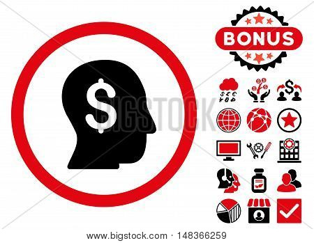 Businessman icon with bonus pictogram. Vector illustration style is flat iconic bicolor symbols intensive red and black colors white background.