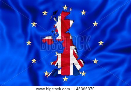 3D rendering of United Kingdom leaving Europe with England Scotland Wales and Northern Ireland. Financial concept for brexit. 3d illustration with Europe and UK flags.