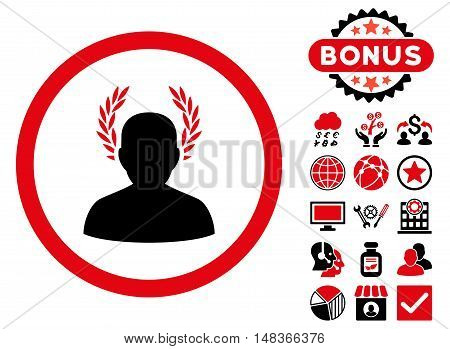 Caesar icon with bonus pictures. Vector illustration style is flat iconic bicolor symbols intensive red and black colors white background.