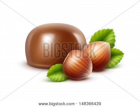 Vector Realistic Milk Chocolate Candy with Hazelnuts Close up Isolated on White Background
