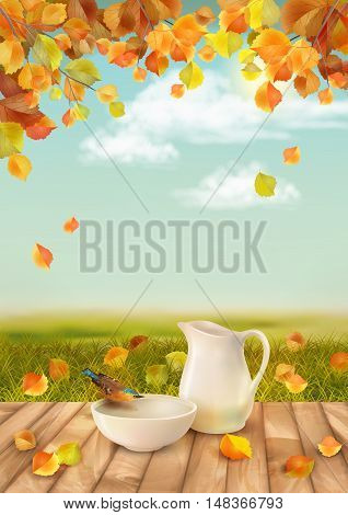 Vector autumn landscape with a pitcher and bird drinking water from a pottery bowl
