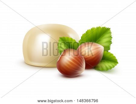 Vector Realistic White Milk Chocolate Candy with Hazelnuts Close up Isolated on White Background